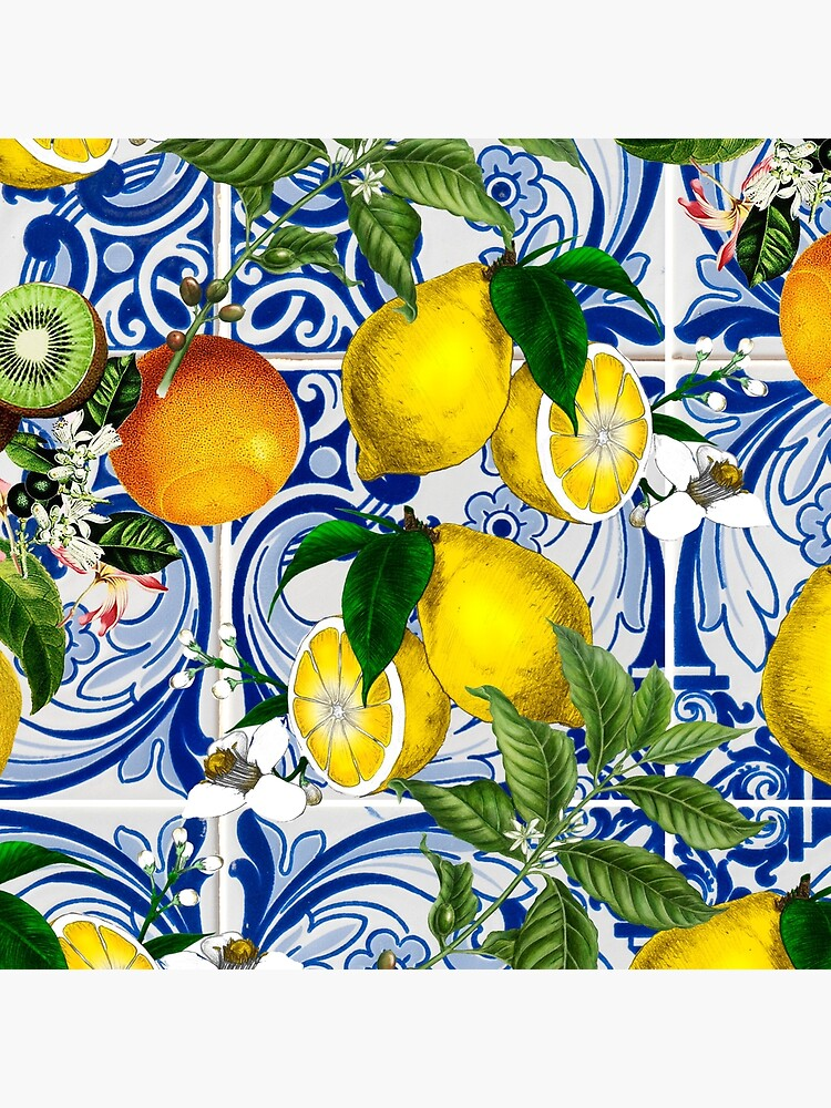 Mediterranean Lemon on Blue Ceramic Tiles by kapotka