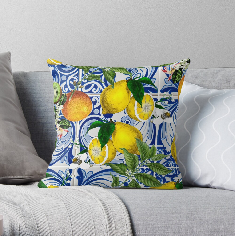 Mediterranean Lemon on Blue Ceramic Tiles Throw Pillow