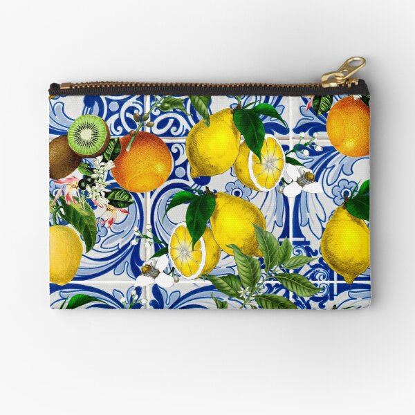 Mediterranean Lemon on Blue Ceramic Tiles Zipper Pouch