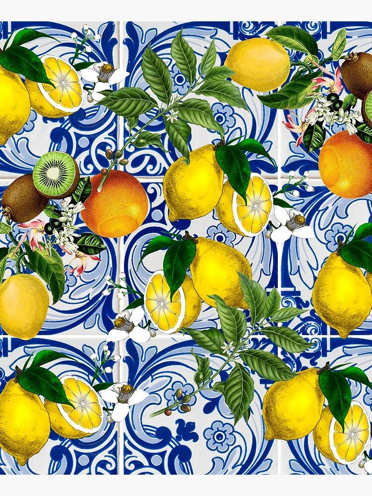 Mediterranean Lemon on Blue Ceramic Tiles by kapotka