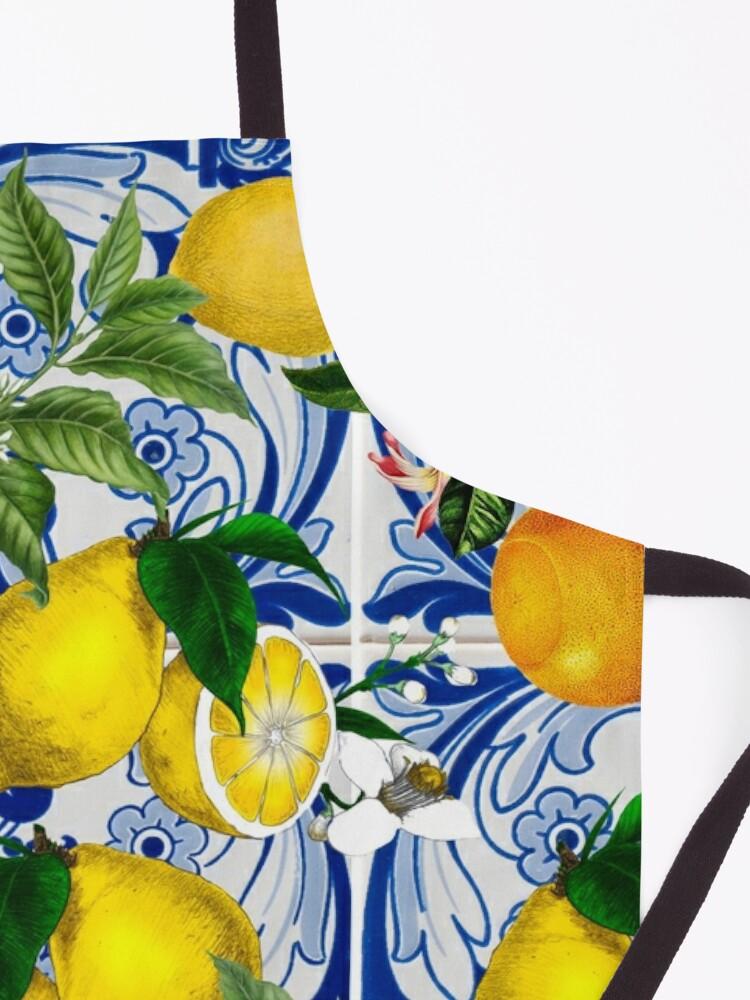 Alternate view of Mediterranean Lemon on Blue Ceramic Tiles Apron