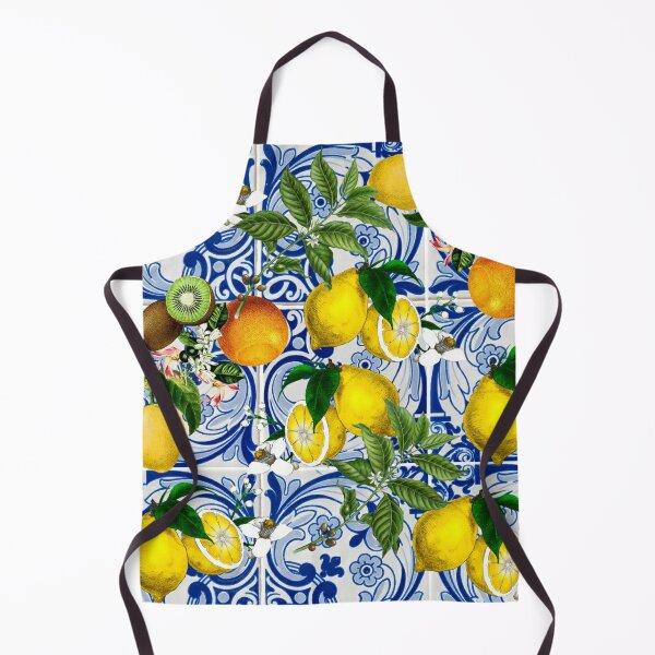 Mediterranean Lemon on Blue Ceramic Tiles Apron