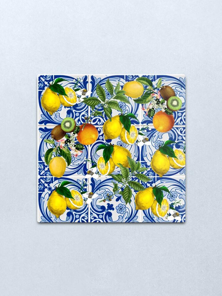 Alternate view of Mediterranean Lemon on Blue Ceramic Tiles Metal Print
