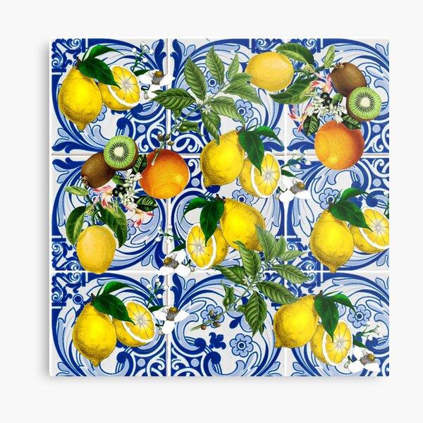 Mediterranean Lemon on Blue Ceramic Tiles Metal Print