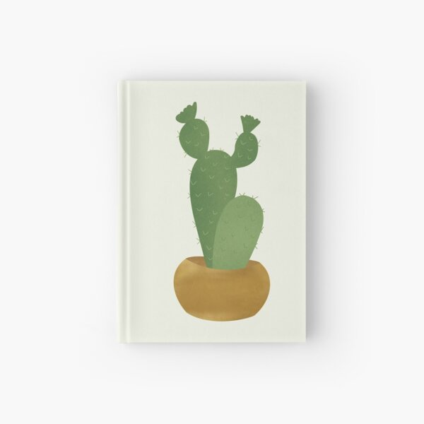 cactus with a golden pot Hardcover Journal