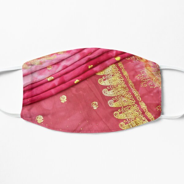 Pink and Gold Indian Sari Bride Wedding Gown Flat Mask