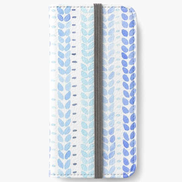Blue Knit Stitches Pattern iPhone Wallet