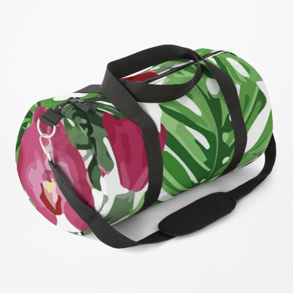 Background floral of summer leaves of palm tropical Duffle Bag