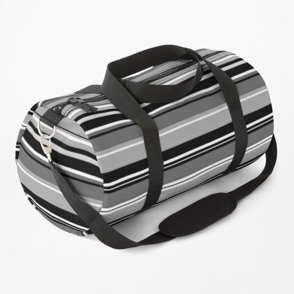 Mixed Striped Design Monochrome Duffle Bag