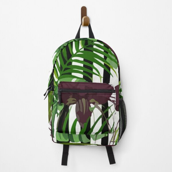Exotic jungle with monstera palm leaves Backpack