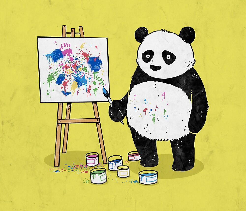 «Los pandas pintan cuadros coloridos.» de laurxy