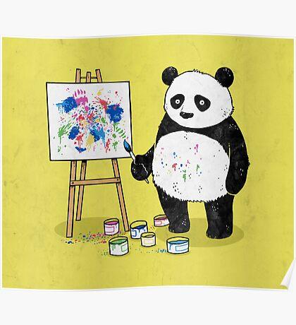 Pandas paint colorful pictures. Poster