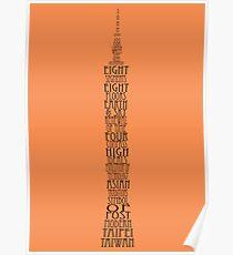 'Wordy Structures' Taipei 101 Orange Poster