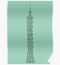 'Wordy Structures' Taipei 101 Blue Poster