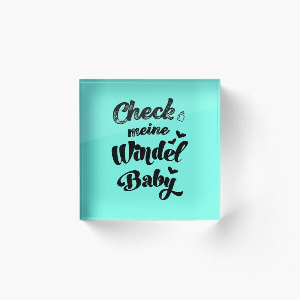 Check my diaper baby sayings onesie pregnancy gift for birth Acrylic Block