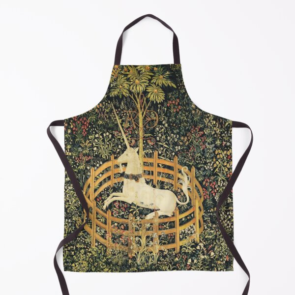 UNICORN AND GOTHIC FANTASY FLOWERS, GREEN FLORAL MOTIFS Apron