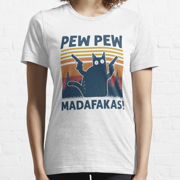 Vintage Retro Black Cat Pew Pew Madafakas! funny cat pew pew madafakas Essential T-Shirt