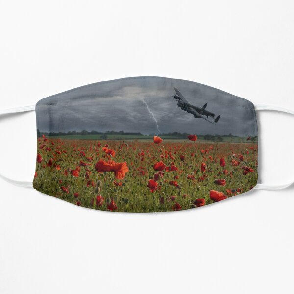 Lancaster Bomber Over A Poppy Field Flat Mask