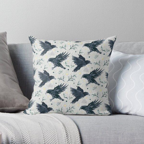 Odin's Ravens Handpainted Print Throw Pillow