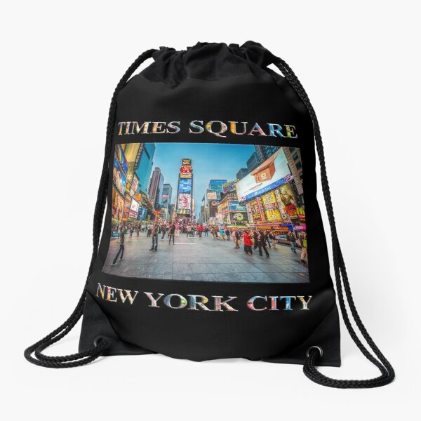 Times Square Sparkle (poster on black) Drawstring Bag