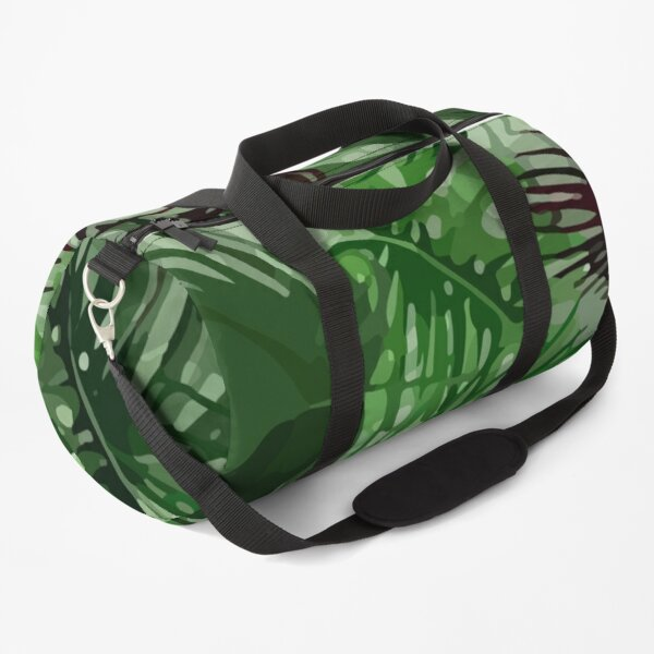 Tropical palm leaves and red orchid pattern Duffle Bag