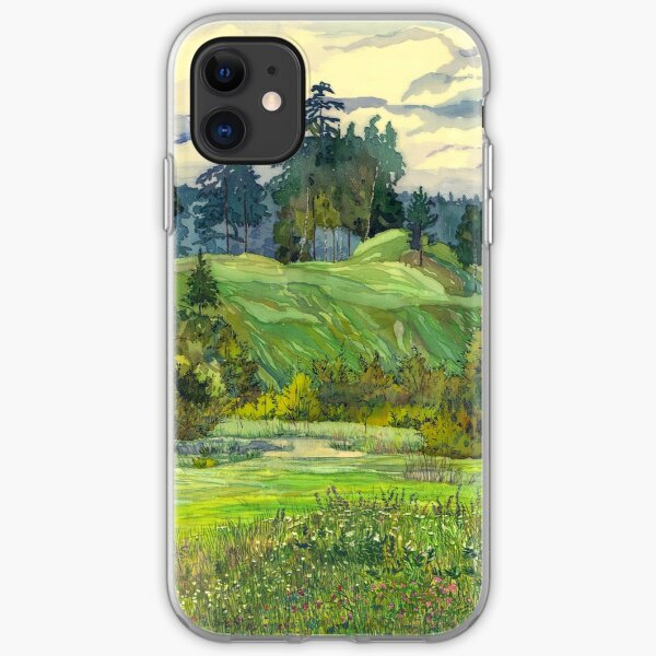 Pines paintingwatercolor  iPhone Soft Case