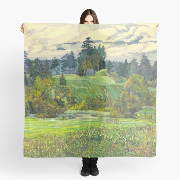 Pines paintingwatercolor  Scarf