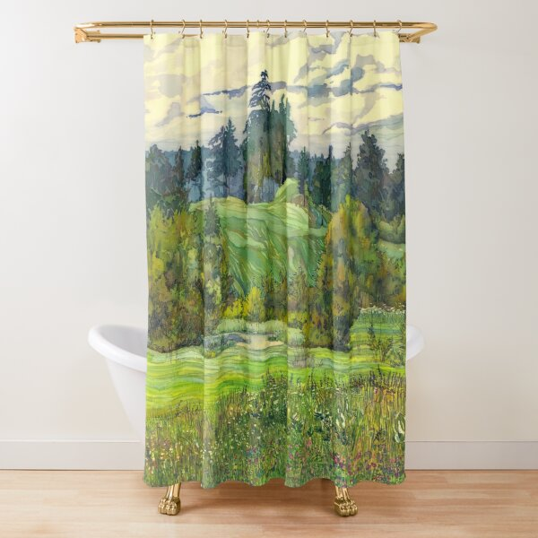 Pines paintingwatercolor  Shower Curtain