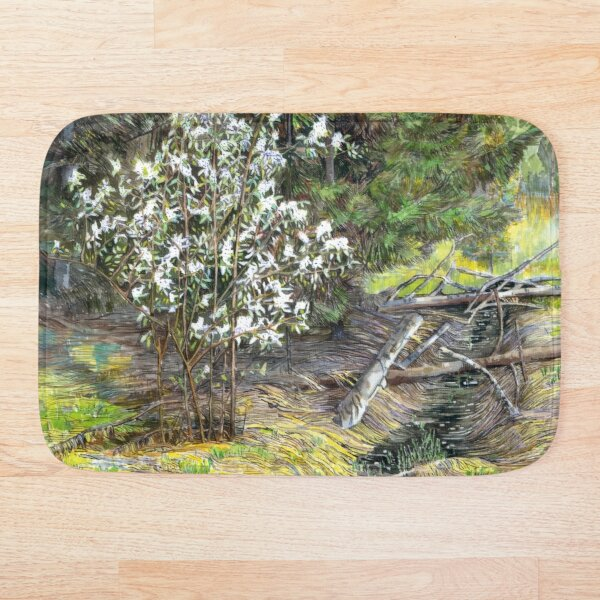 spring in the wood Watercol painting     Bath Mat