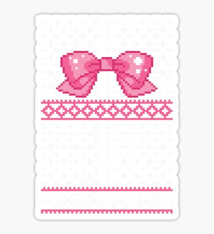 8bit Fair Isle Bow Sticker