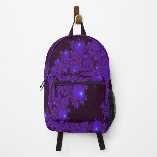 Blue and Black Spiral Fractal Patterns Backpack