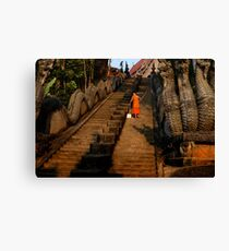 Monk Sweeping the Dragon Stairs Canvas Print