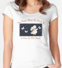 Beach Angel ~ Shells on Sandy Canvas  Women's Fitted Scoop T-Shirt