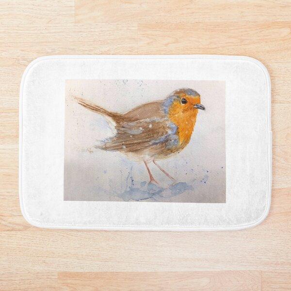 Christmas Robin in the Snow Bath Mat