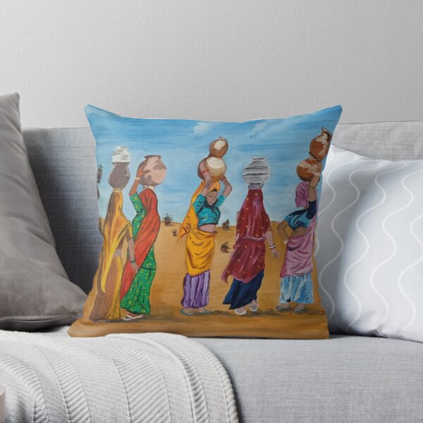 Indian women crossing a desert to fetch some water. Its their fun time to chit chat and gossip. Throw Pillow