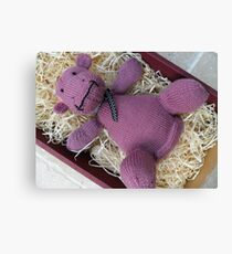 Knitted Pink Hippo Calf Canvas Print