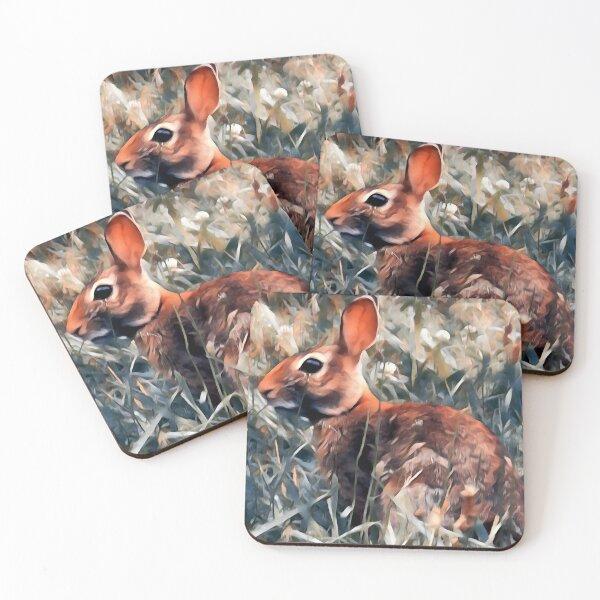 Woodland bunny rabbit Coasters (Set of 4)