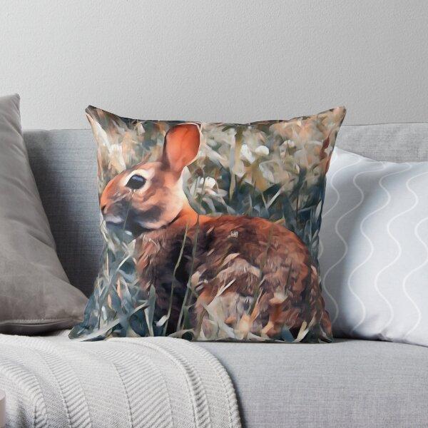 Woodland bunny rabbit Throw Pillow