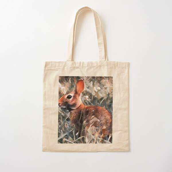 Woodland bunny rabbit Cotton Tote Bag