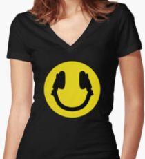 Smile DJ Women's Fitted V-Neck T-Shirt