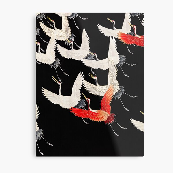 Furisode with a Myriad of Flying Cranes  Metal Print