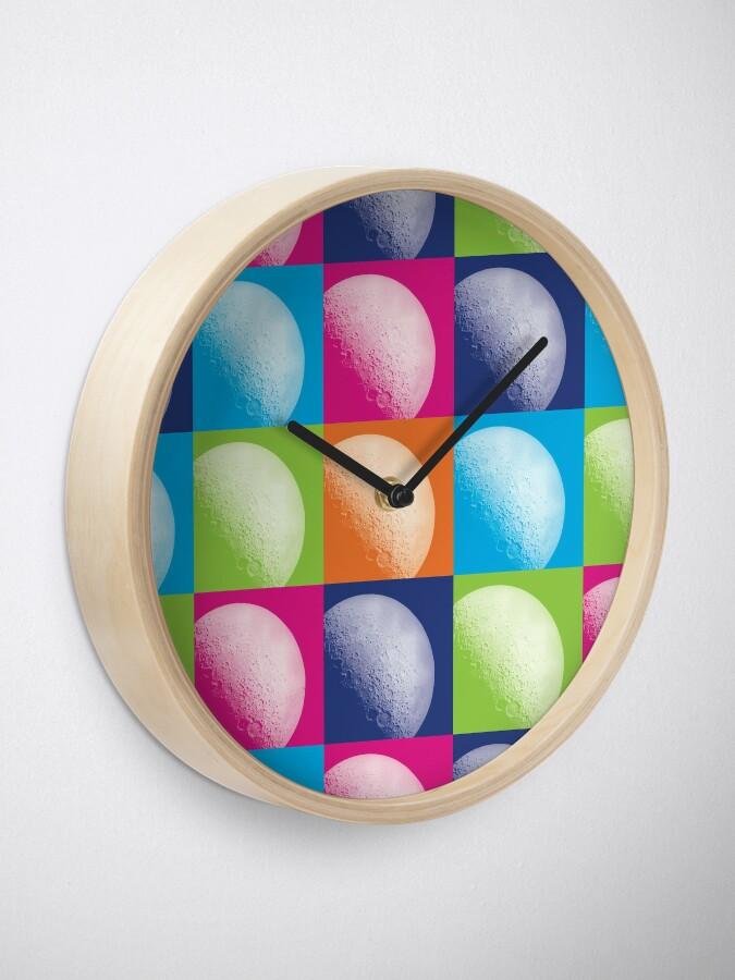 Alternate view of Colorful Pop Art Moon Pattern Clock