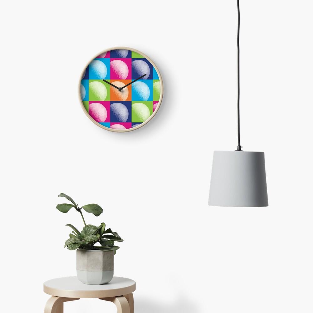Colorful Pop Art Moon Pattern Clock