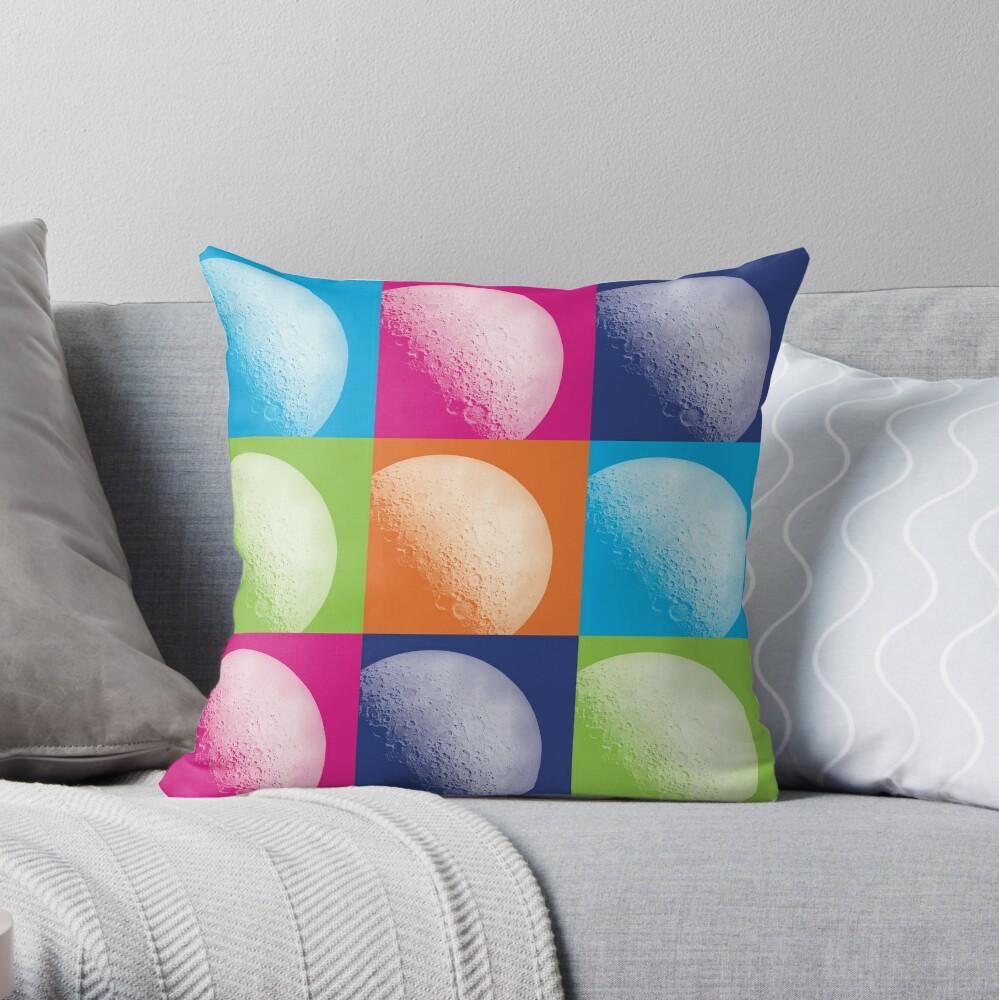 Colorful Pop Art Moon Pattern Throw Pillow