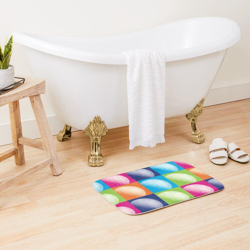 Colorful Pop Art Moon Pattern Bath Mat