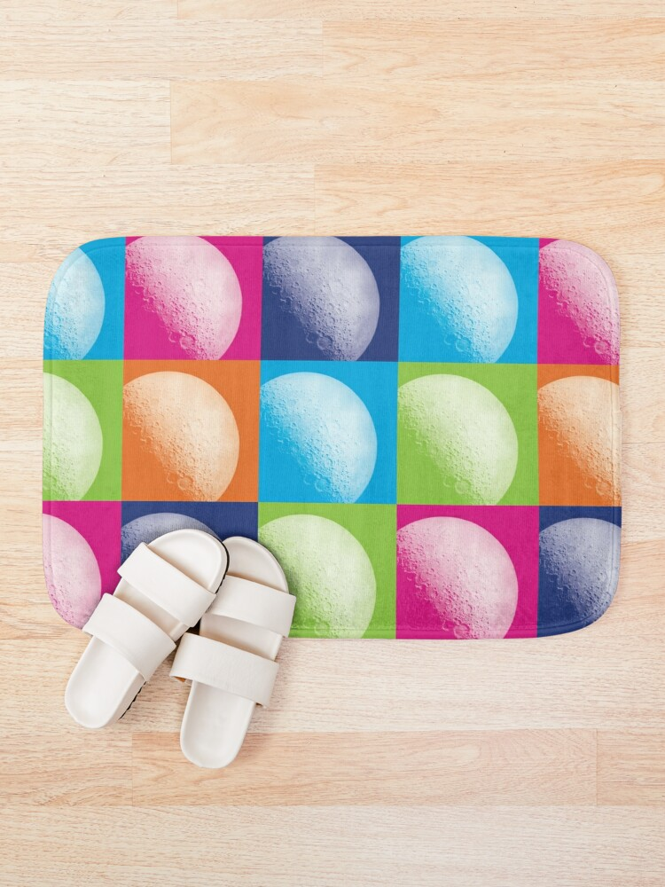 Alternate view of Colorful Pop Art Moon Pattern Bath Mat