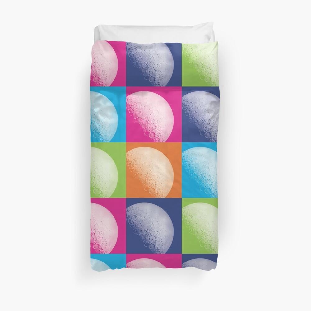 Colorful Pop Art Moon Pattern Duvet Cover