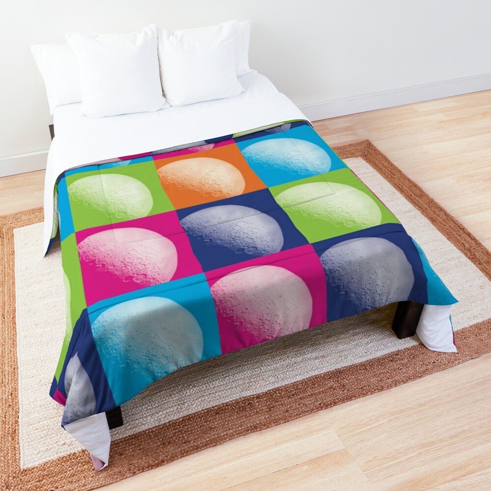 Colorful Pop Art Moon Pattern Comforter