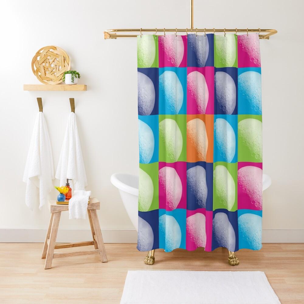 Colorful Pop Art Moon Pattern Shower Curtain