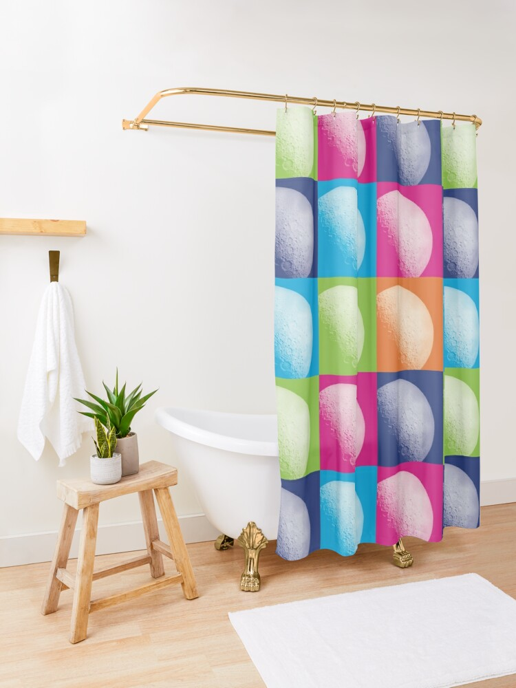 Alternate view of Colorful Pop Art Moon Pattern Shower Curtain